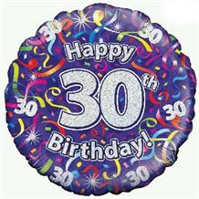 "Purple Streamers Happy 30th Birthday 18"" Foil 