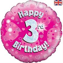 Happy 3rd Birthday Pink Foil | Helium Balloon
