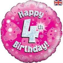 Happy 4th Birthday Pink Foil | Helium Balloon