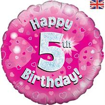Happy 5th Birthday Pink Foil | Helium Balloon