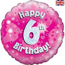 Happy 6th Birthday Pink Foil | Helium Balloon