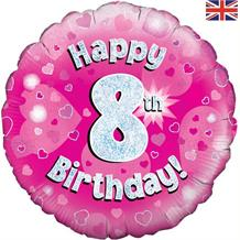 Happy 8th Birthday Pink Foil | Helium Balloon
