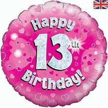 "Happy 13th Birthday Pink 18"" Foil 