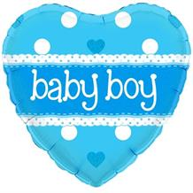 "Blue Polka Dot Baby Boy Baby Shower 18"" Foil 