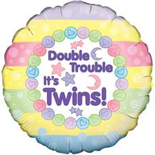 "Double Trouble Its Twins Baby Shower 18"" Foil 