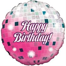 "Disco Ball Holographic Happy Birthday 18"" Foil 