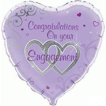 "Congratulations on Your Engagement Purple 18"" Foil 