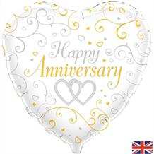 "Happy Anniversary Linked Heart 18"" Foil 