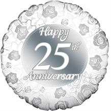 "Happy 25th Anniversary Silver 18"" Foil 