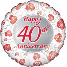 "Happy 40th Anniversary Ruby 18"" Foil 