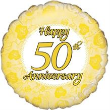 "Happy 50th Anniversary Gold 18"" Foil 