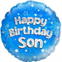 "Happy Birthday Son Blue Stars 18"" Foil 