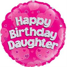 "Happy Birthday Daughter Pink Hearts 18"" Foil 