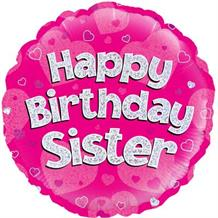 "Happy Birthday Sister Pink 18"" Foil 