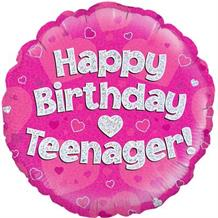 "Happy Birthday Teenager Pink 18"" Foil 