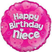 "Happy Birthday Niece Pink 18"" Foil 