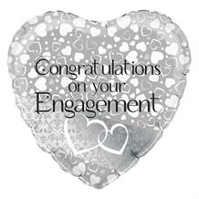 "Congratulations on Your Engagement Silver 18"" Foil 