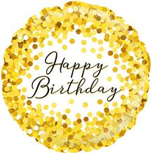 "Gold Confetti Happy Birthday 18"" Foil 