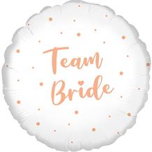"Team Bride | Rose Gold Dots 18"" Foil 