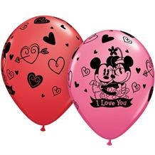 Disney Mickey and Minnie Mouse I Love You Latex Balloons
