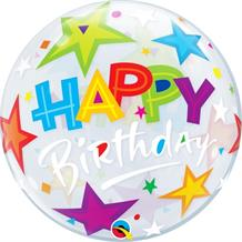 "Colourful Stars Happy Birthday 22"" Qualatex Bubble Party Balloon"