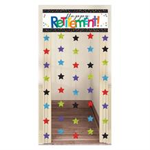 Happy Retirement Confetti Dots Doorway Hanging String Curtain Party Decoration