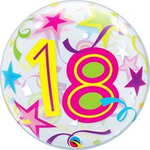 "Colourful Stars 18th Birthday 22"" Qualatex Bubble Party Balloon"