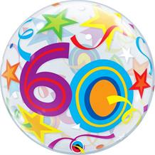 "Colourful Stars 60th Birthday 22"" Qualatex Bubble Party Balloon"