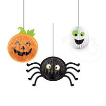 Pumpkin | Spider | Ghost Halloween Honeycomb Party Hanging Decorations