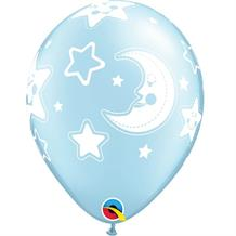 "Baby Blue Moon and Stars | Baby Shower 11"" Qualatex Latex Party Balloons"