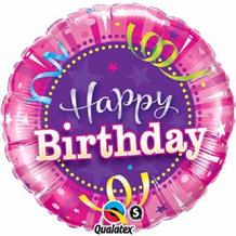 "Hot Pink Happy Birthday 18"" Foil 