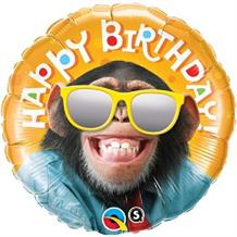 "Smiling Chimp | Monkey Happy Birthday 18"" Foil 