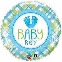 "Baby Boy Blue Foot Baby Shower 18"" Foil 