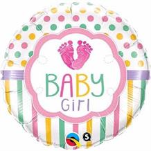 "Baby Girl Love Feet Baby Shower 18"" Foil 