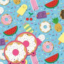 Fruits and Sweets | Summer Gift Wrap -  2 Sheets, 2 Gift Tags