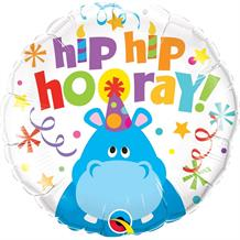 "Hip Hip Hooray Hippo 18"" Foil 