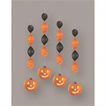 Pumpkin Glow Party Hanging Swirl Decorations