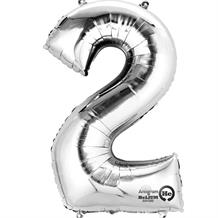 "Anagram Silver 35"" Number 2 Supershape Foil 