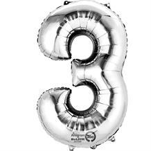 "Anagram Silver 35"" Number 3 Supershape Foil 