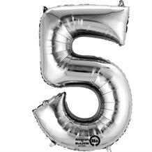 "Anagram Silver 35"" Number 5 Supershape Foil 