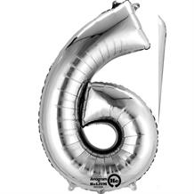 "Anagram Silver 35"" Number 6 Supershape Foil 