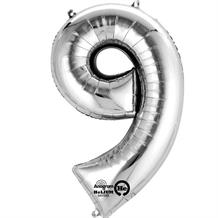 "Anagram Silver 35"" Number 9 Supershape Foil 