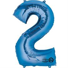 "Anagram Blue 35"" Number 2 Supershape Foil 