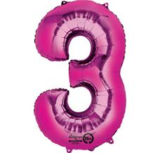 "Anagram Pink 35"" Number 3 Supershape Foil 