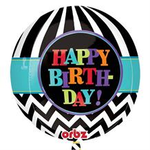 "Chevron Happy Birthday 15"" Sphere Shaped Foil 