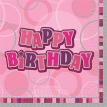 Pink Glitz Happy Birthday Party Napkins