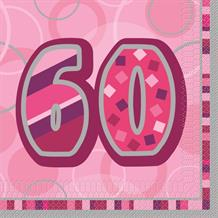 Pink Glitz 60th Birthday Party Napkins