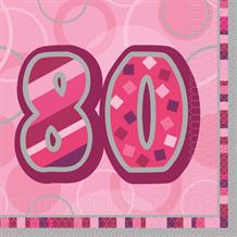 Pink Glitz 80th Birthday Party Napkins - Napkins