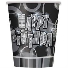 Black Glitz Happy Birthday Party Cups