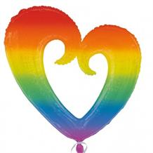 Rainbow Open Heart Shaped Foil | Helium Balloon